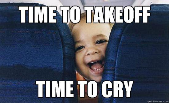 Bebé llorando en avión