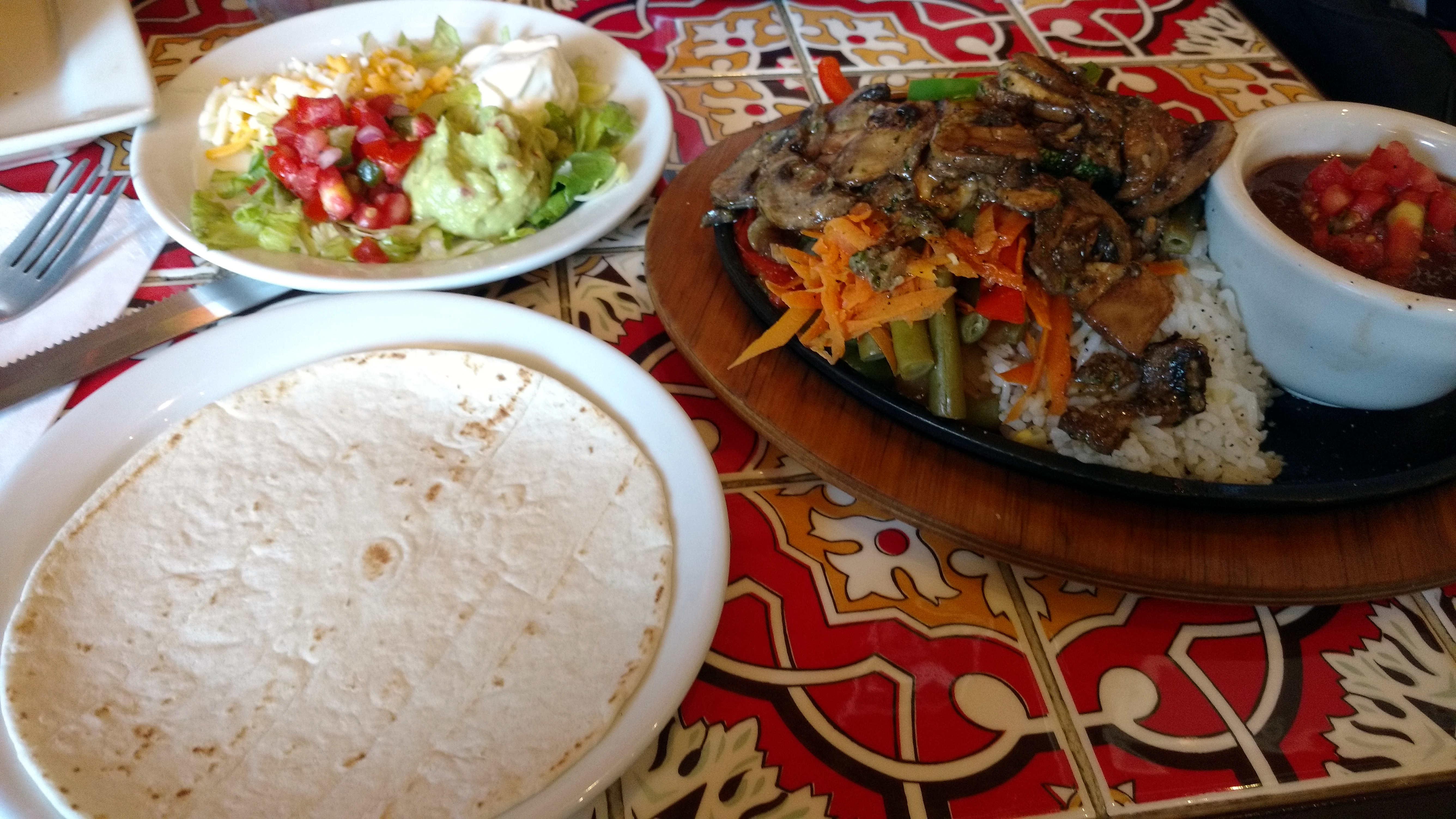 Fajitas vegetarianas en Chili's