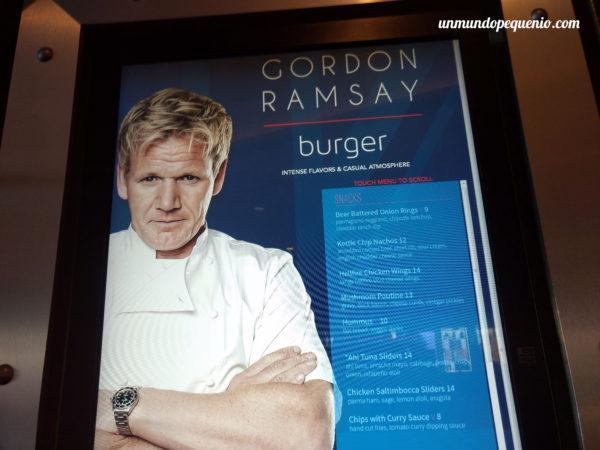 Gordon Ramsay Burger menu