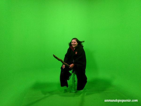 Yo con pantalla verde en los estudios de Warner