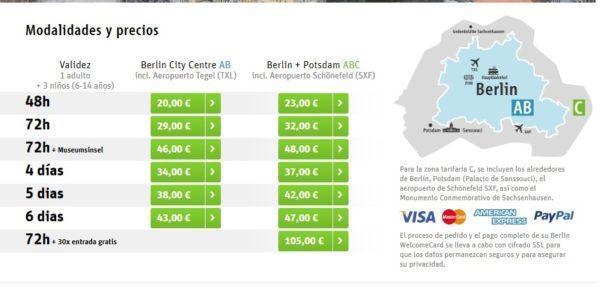 Modalidades y precios Berlin Welcome Card