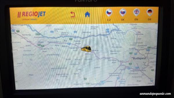 Mapa del trayecto en bus Regiojet