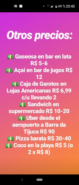 Precios en Barra da Tijuca 2