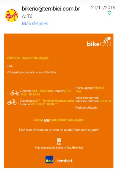 Mail bicis Bike Itaú de Río de Janeiro