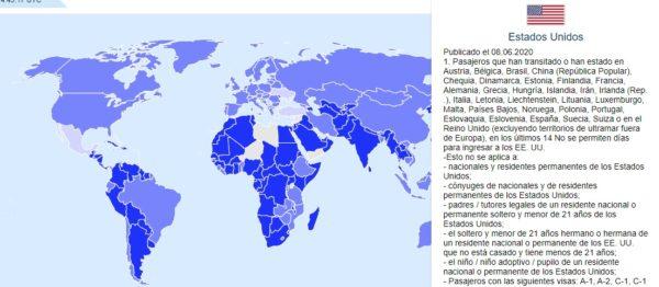 Restricciones de Estados Unidos coronavirus