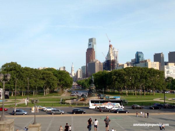 Vista desde el Museo de Bellas Artes de Filadelfia